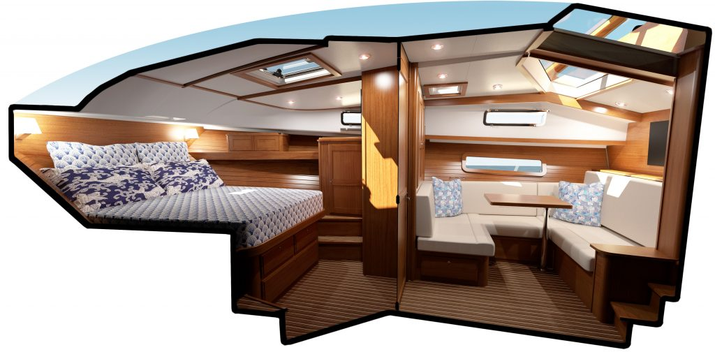 Image depicts a bisected view of the boat's interior. A dividing wall and doorway are on center. To the left is a master cabin with queen-sized pedistal berth. To the right is a u-shaped banquette with a table in the center. Light is allowed into the space via overhead hatches, fixed portlights, and the windshield above.