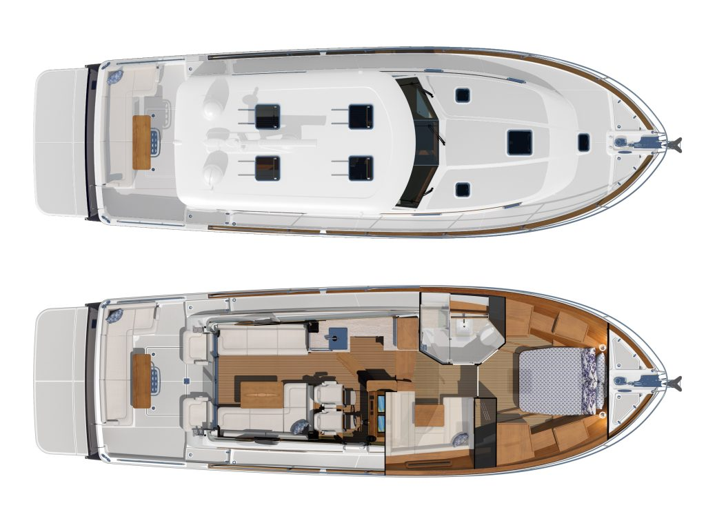A top-down view of the social spaces onboard the boat. The top half of the image shows the exterior deck and cockpit, while the bottom half shows the interior salon and accommodations.